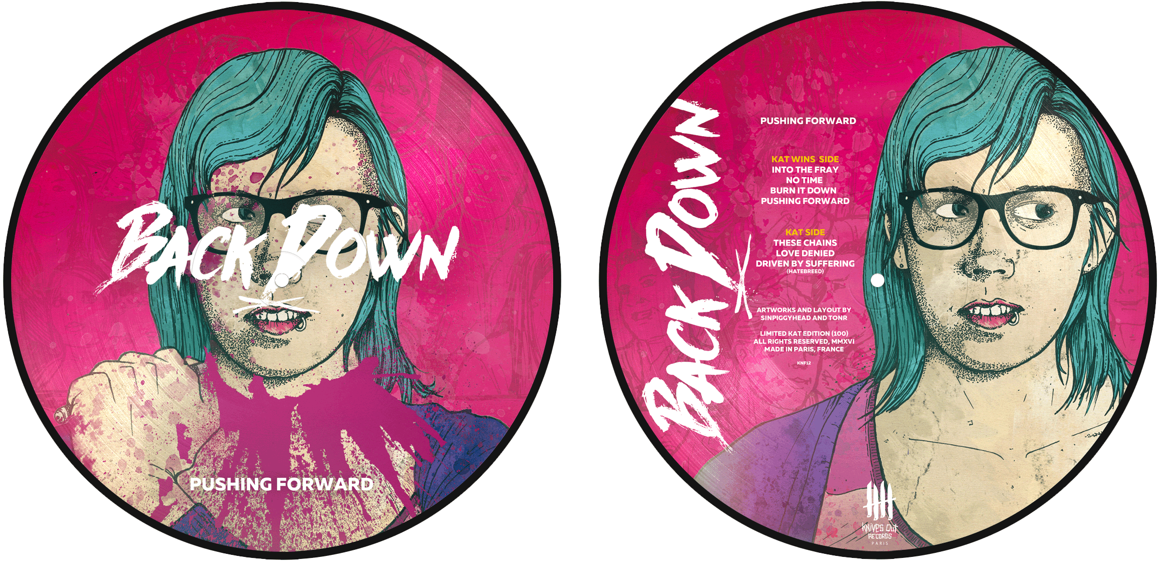 "BACK DOWN ""Pushing Forward"" picture disc, Kate Edition"