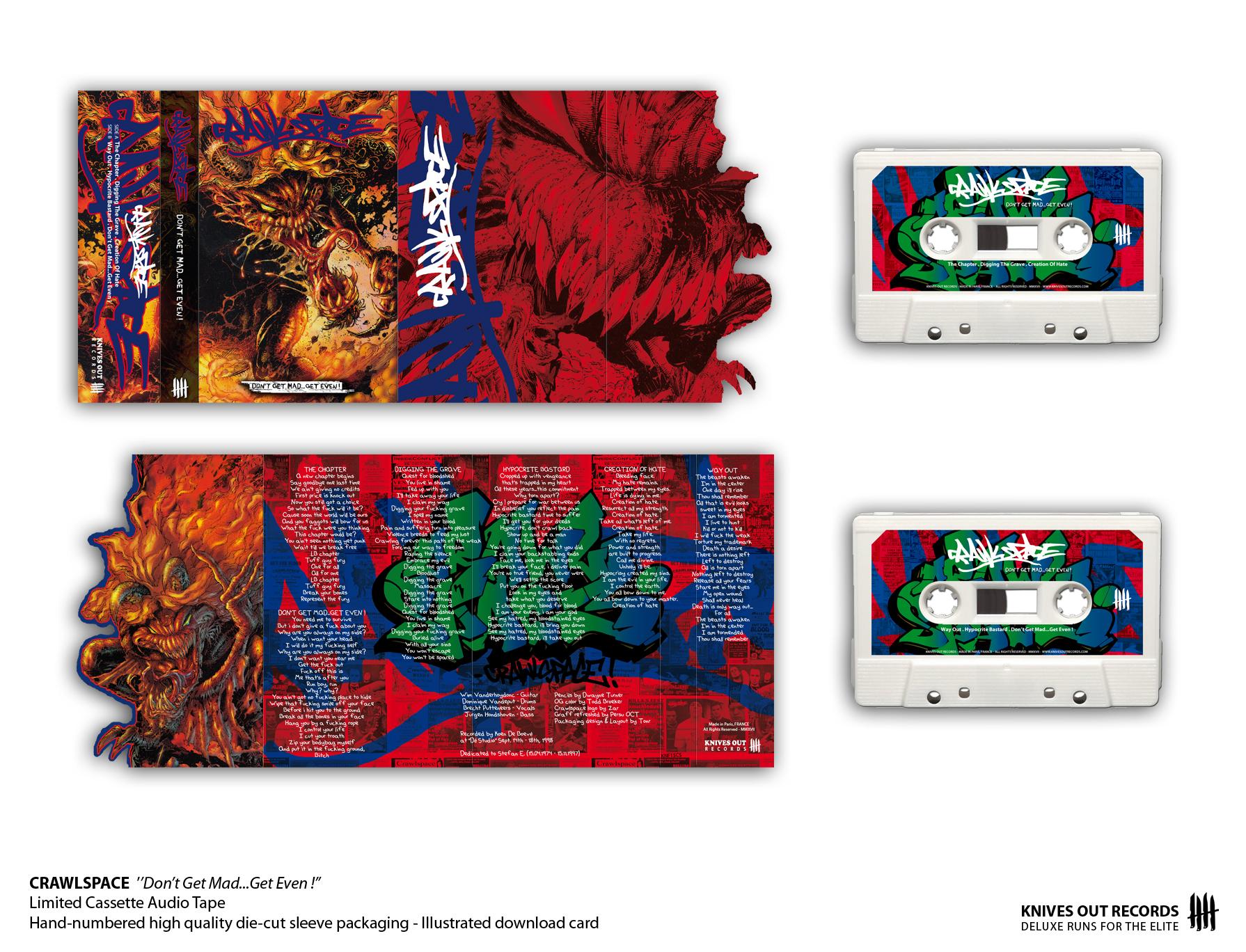CRAWLSPACE 'Dont Get Mad...Get Even !' Cassette Audio Tape