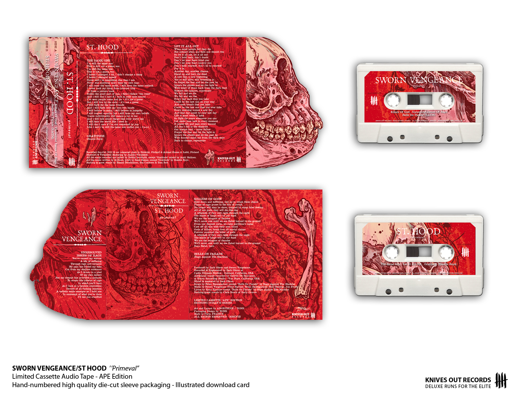 SWORN VENGEANCE/ST HOOD Primeval Cassette Audio Tape - APE Edition