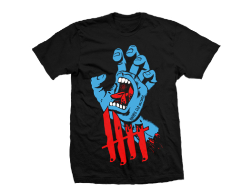 Knives Out records x Jim Phillips x Santa Cruz Screaming Hand tribute shirt