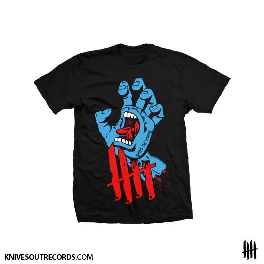 Knives Out records x Jim Phillips x Santa Cruz Screaming Hand tribute shirt