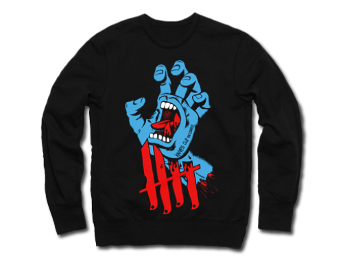 Knives Out records x Jim Phillips x Santa Cruz Screaming Hand tribute crewneck/longsleeves