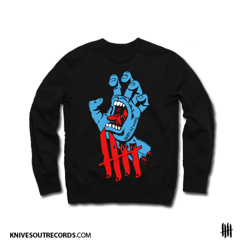 Knives Out records x Jim Phillips x Santa Cruz Screaming Hand tribute crewneck sweat