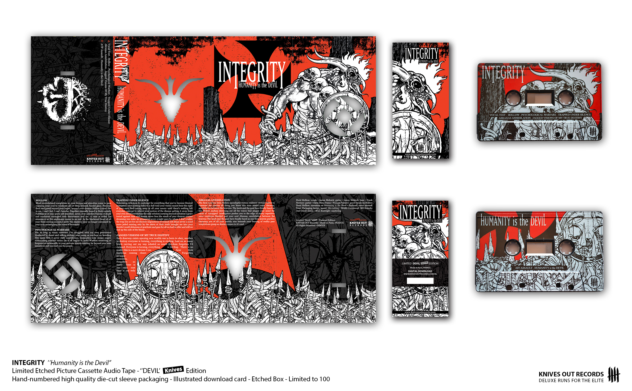 """INTEGRITY """"Humanity is the Devil"""" - """"Devil II"""" Pushead Edition - Picture Cassette Audio Tape"""