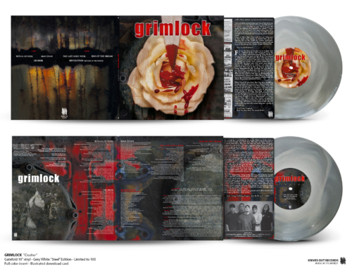 "GRIMLOCK ""Crusher"", Gatefold 10″ vinyl, White Grey ""STEEL"" Edition"
