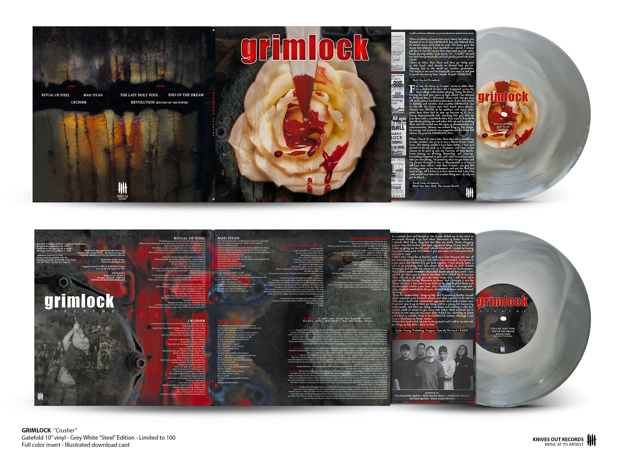 "GRIMLOCK Crusher - gatefold 10"" vinyl , white in grey - ""Steel Edition"""